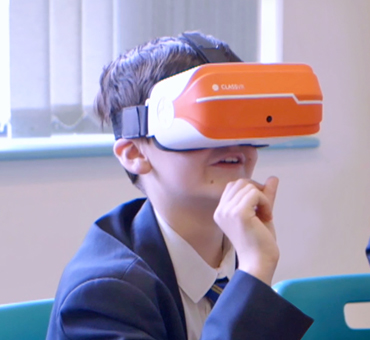 student with Class VR headset