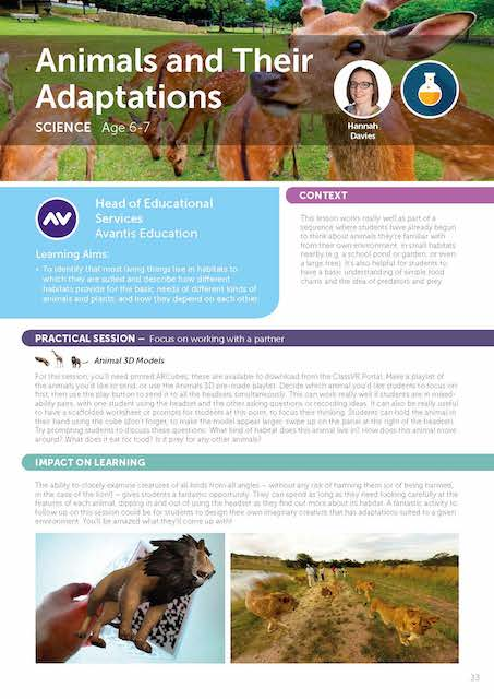 Animals Adaptations lesson for virtual reality